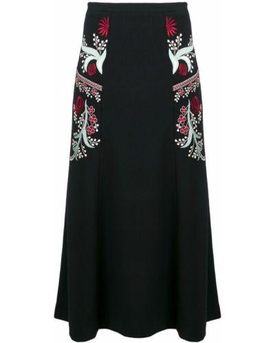 Черная юбка миди с вышивкой в рубчик Vilshenko