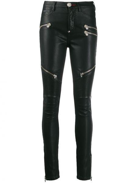 Czarne jeansy z wysokim stanem bawełniane Philipp Plein