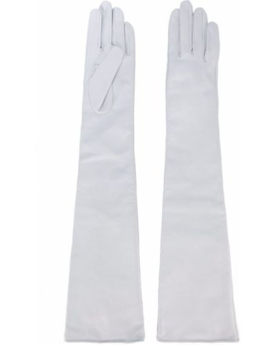 Перчатки длинные кожаные белый Manokhi