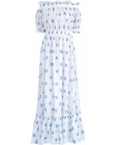 Платье макси с цветочным принтом со вставками Alexander Mcqueen
