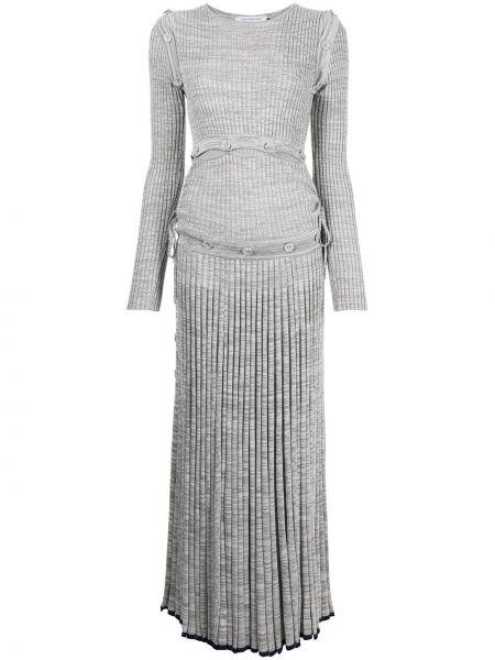 Платье в рубчик - серое Christopher Esber