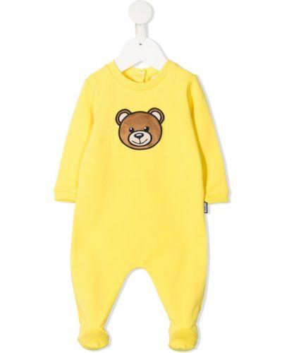 Хлопковый желтый комбинезон с вырезом Moschino Kids