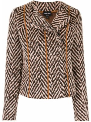 Хлопковый коричневый пиджак круглый Giorgio Armani