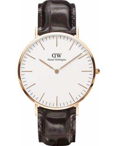 Часы водонепроницаемые с кожаным ремешком белые Daniel Wellington