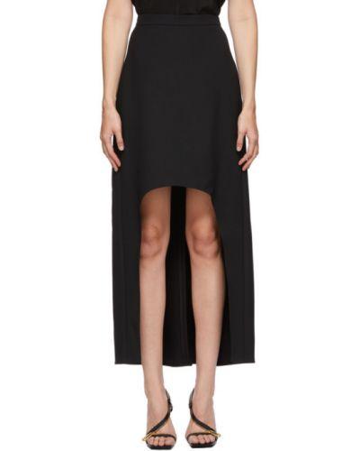 Шелковая черная асимметричная юбка с подкладкой Alexander Mcqueen