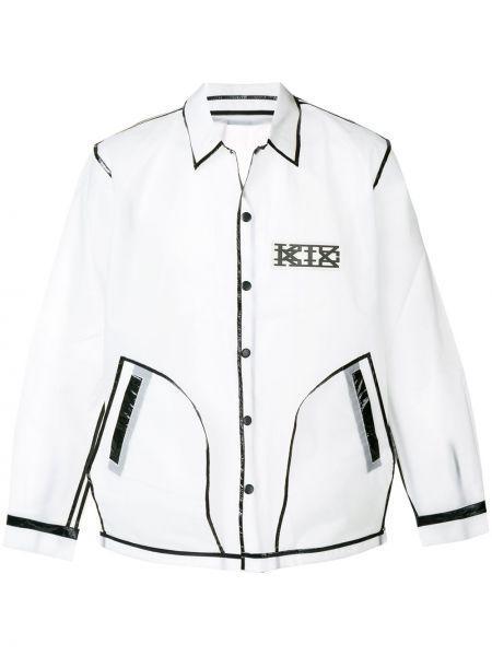 Белая куртка на кнопках с воротником прозрачная Ktz