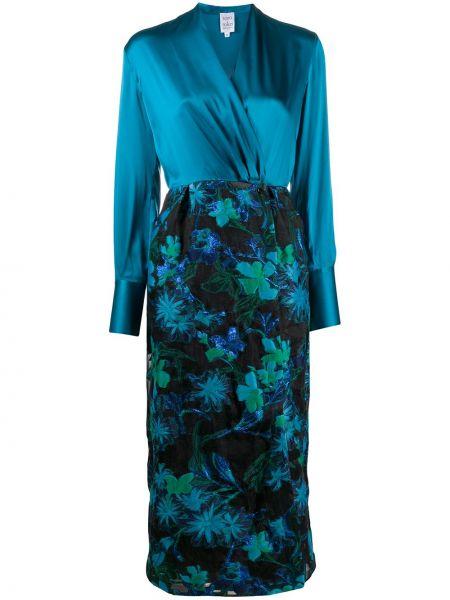 Синее шелковое платье миди с запахом с V-образным вырезом Sara Roka