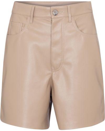 Кожаные шорты - бежевые Nanushka