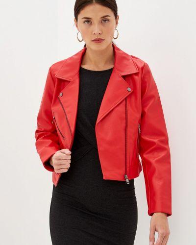 Кожаная куртка осенняя красная Only