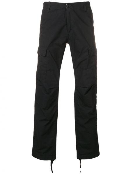 Черные прямые брюки с карманами на молнии новогодние Carhartt Wip