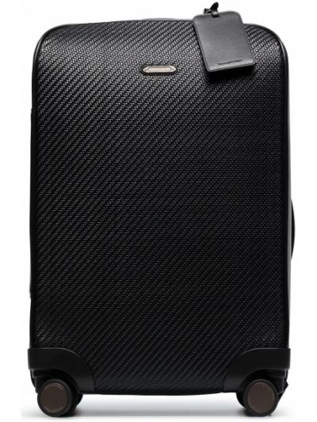 Кожаный черный чемодан на молнии Ermenegildo Zegna