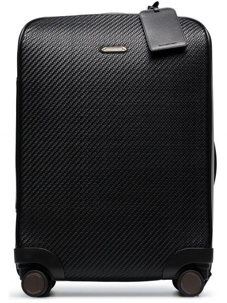 Czarna walizka skórzana Ermenegildo Zegna