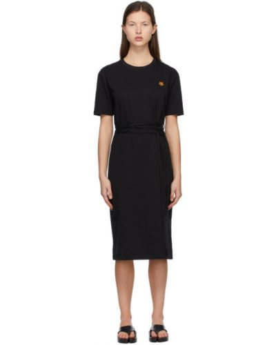 Трикотажное черное платье-рубашка с поясом Kenzo