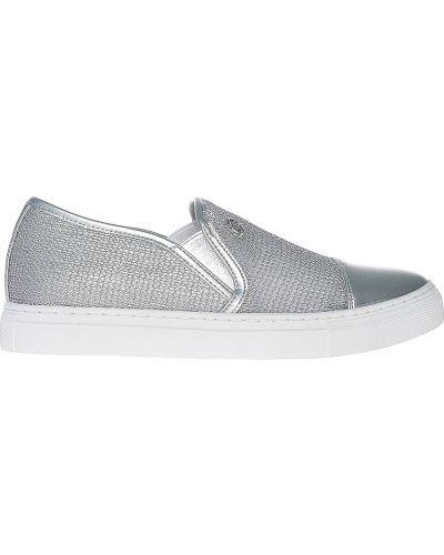 Слипоны серебряного цвета Armani Jeans