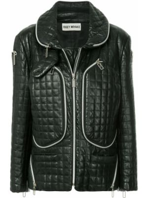 Черная кожаная куртка на молнии винтажная с карманами Issey Miyake Pre-owned