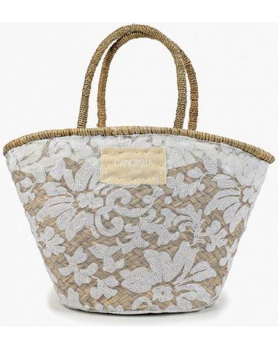 Пляжная сумка соломенная белый Camomilla Italia