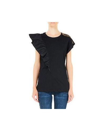 Хлопковая черная футболка Liu Jo