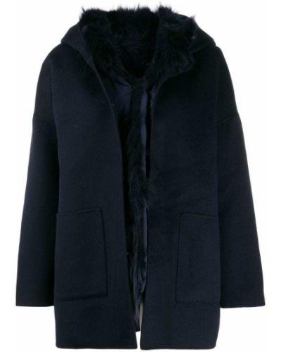Однобортное синее длинное пальто с капюшоном S.w.o.r.d 6.6.44