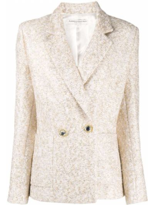 Приталенный классический пиджак двубортный с вышивкой Alessandra Rich