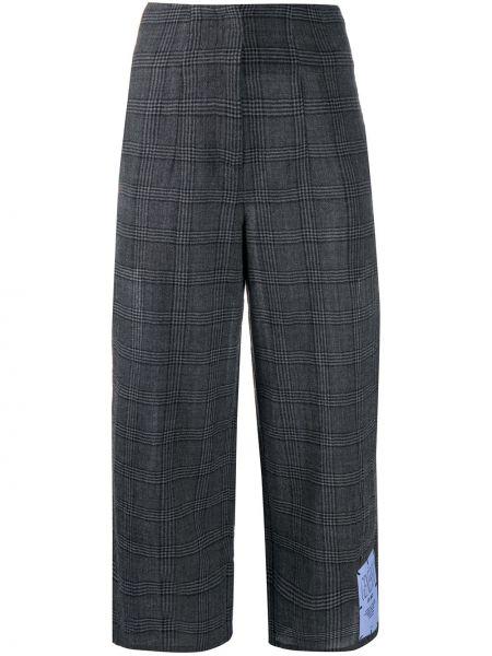 Шерстяные серые укороченные брюки свободного кроя с высокой посадкой Mcq Alexander Mcqueen