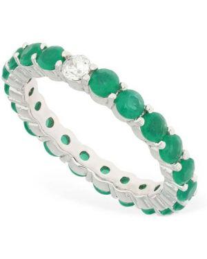 Zielony pierścionek z cyrkoniami srebrny Talita