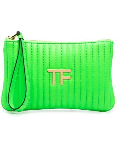 Зеленая кожаная сумка на молнии Tom Ford