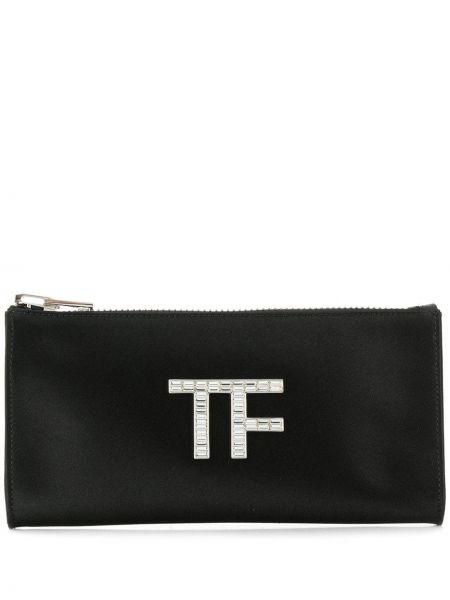 Кожаная черная сумка на молнии Tom Ford