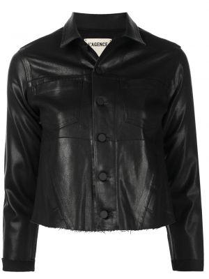 Кожаная куртка с воротником - черная L'agence