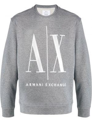 Прямая с рукавами серая толстовка Armani Exchange