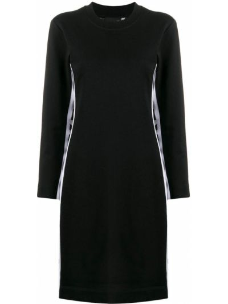 С рукавами трикотажное черное платье макси Love Moschino