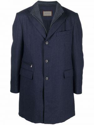 Синее пальто с воротником Corneliani