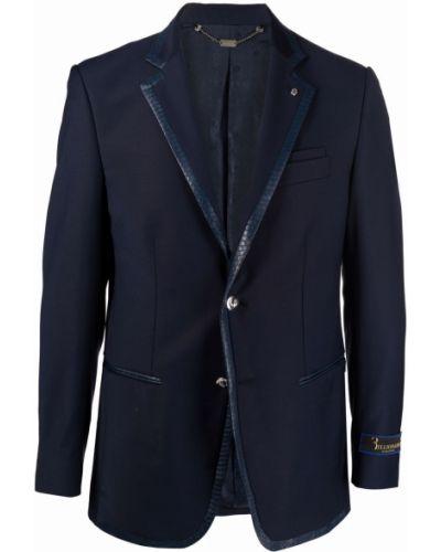 Синий пиджак с карманами с нашивками из вискозы Billionaire
