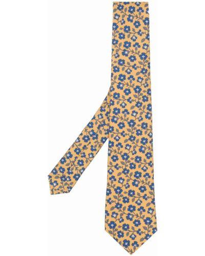 Żółty krawat z jedwabiu Canali