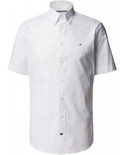 Biała koszula bawełniana krótki rękaw Tommy Hilfiger