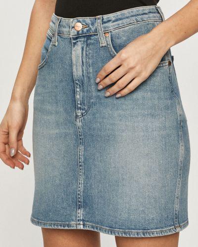 Niebieska spódnica mini bawełniana na co dzień Wrangler