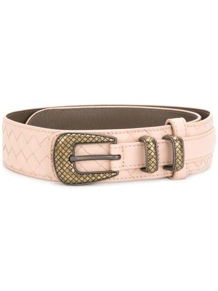 Золотистый кожаный розовый ремень с пряжкой Bottega Veneta