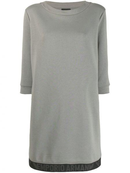 Платье с вышивкой в полоску Emporio Armani