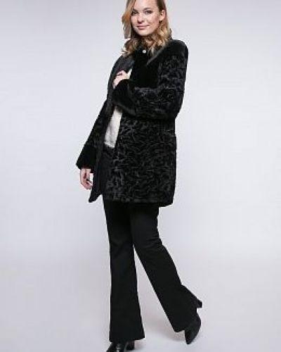 Приталенное черное пальто с воротником каляев