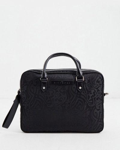 Черная кожаная сумка с ручками John Richmond