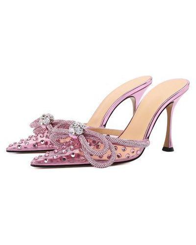 Розовые кожаные мюли Mach & Mach