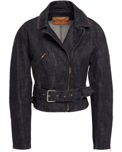 Ватная черная джинсовая куртка байкерская Mcq Alexander Mcqueen