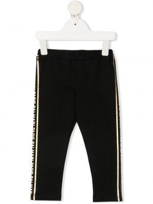 Złote czarne legginsy z printem Balmain Kids