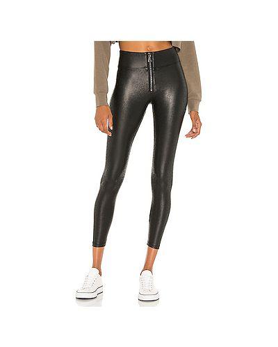 Черные кожаные брюки на резинке David Lerner