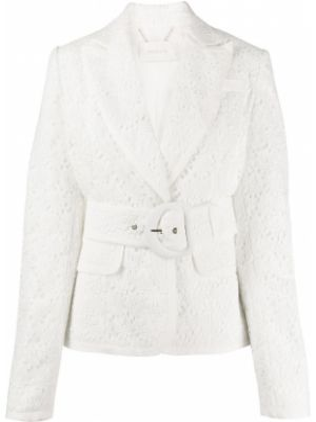 Шелковый белый короткая куртка с поясом Zimmermann