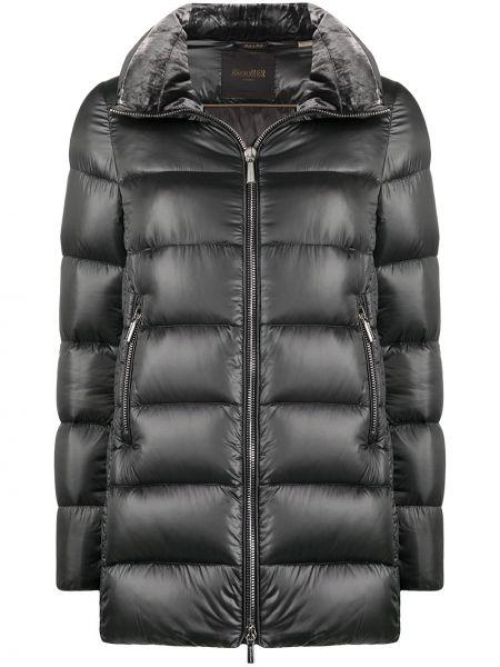 С рукавами серое шерстяное стеганое пальто с перьями Moorer