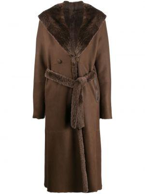 Коричневое свободное кожаное пальто с воротником свободного кроя Liska