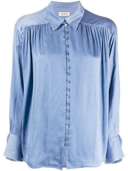 С рукавами синяя блузка с воротником Zadig&voltaire