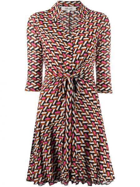 Расклешенное розовое платье с воротником из вискозы Dvf Diane Von Furstenberg