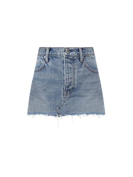 Плиссированная гранж хлопковая синяя юбка мини Denim X Alexander Wang