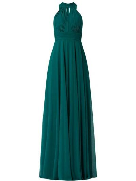 Zielona sukienka wieczorowa rozkloszowana z szyfonu Troyden Collection